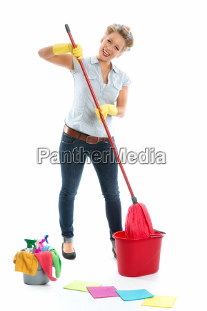 cleaning lady with bucket and swipe