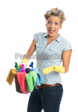 annoyed cleaning lady with bucket