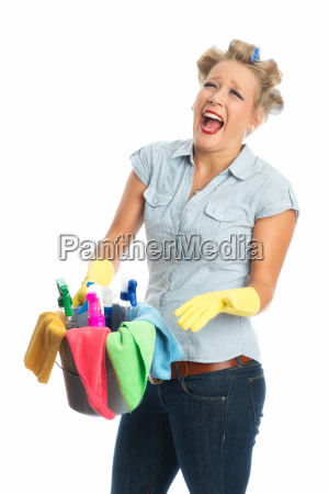 screaming cleaning woman with bucket