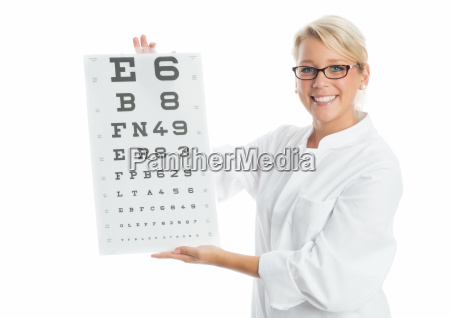 doctor holding an eye test