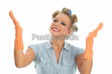 housewife with rubber gloves
