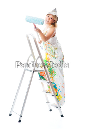 satisfied painter on ladder