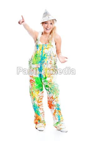 merry painter in overalls