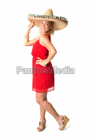 blonde woman with sombrero