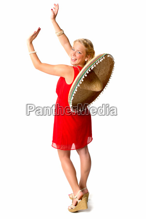 woman charme mexican sombrero