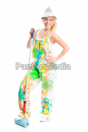 female painter with paint roll