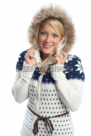 blond woman in knitted coat