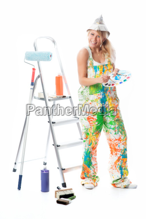 female painter with palette