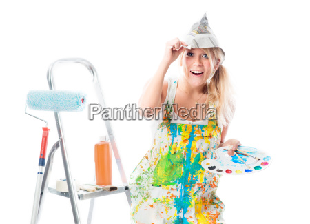 female house painter with color palette