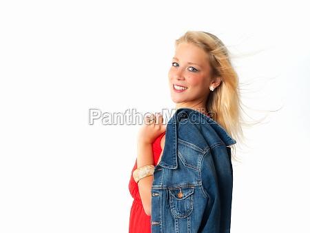 woman in jeans jacket