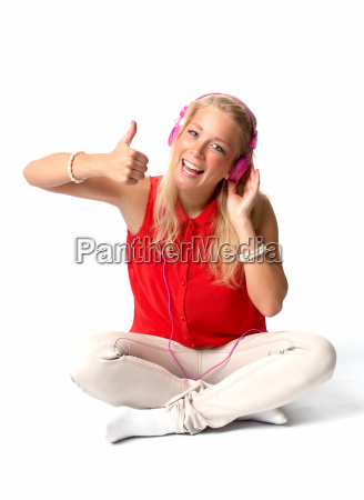 blonde woman with headphones