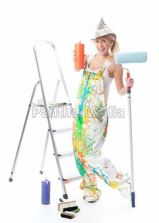 painter with paint colors