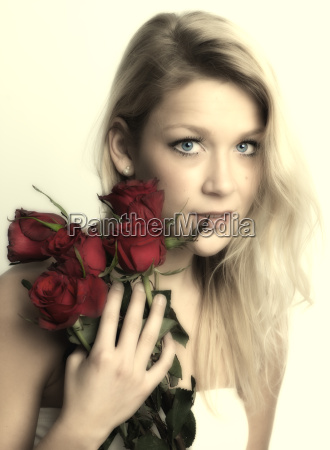 dream woman with roses