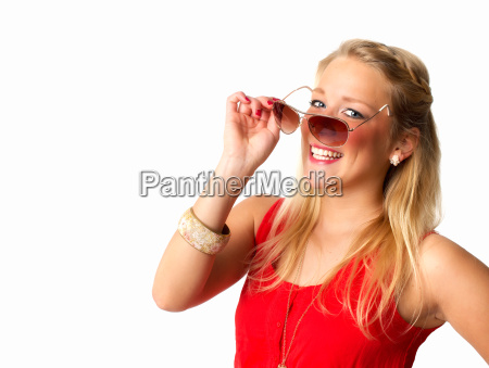 blonde woman with sunglasses