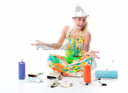 female house painter with art supplies