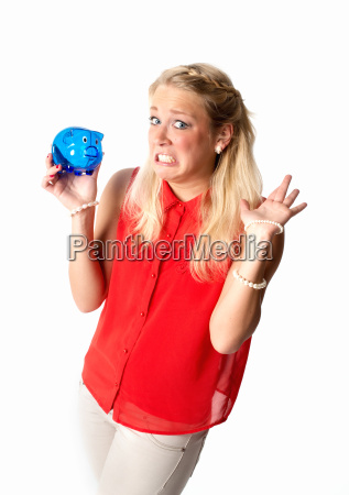 blonde woman with piggy bank