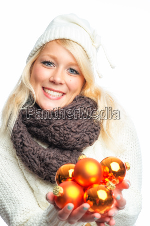 blond woman with christmas balls