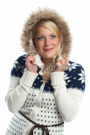 blonde woman in knitted coat