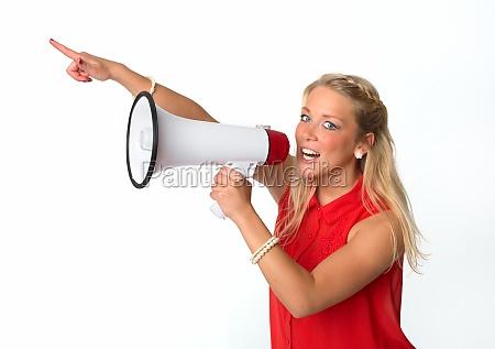 blonde, frau, mit, megafon - 11821879