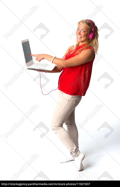 junge, frau, mit, laptop - 11821837
