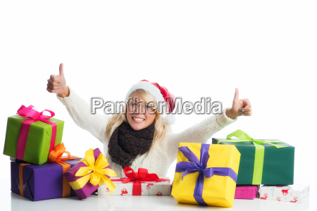 christmas woman with gifts pile