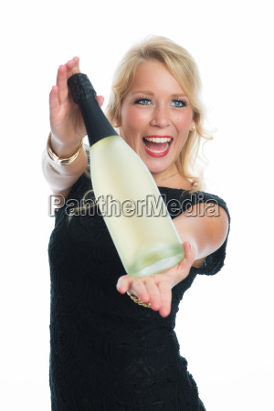 woman holding champagne bottle