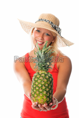 blond woman with pineapple