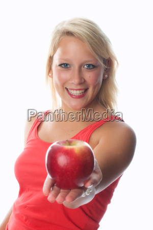 woman enjoy fruit apples apple vital