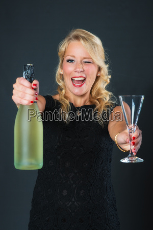 elegant woman with champagne