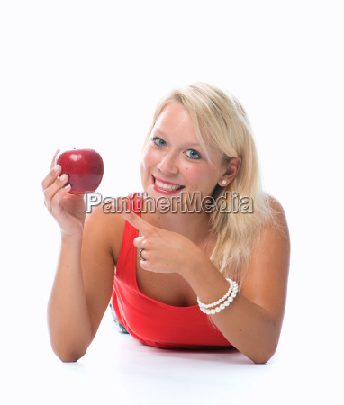 blond woman is holding a red