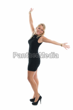woman in little black dress