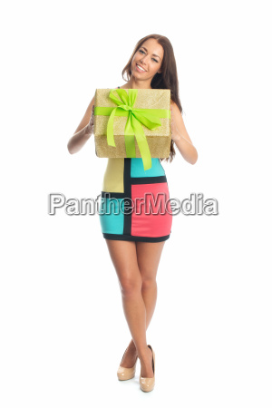 woman brown brownish brunette gift long