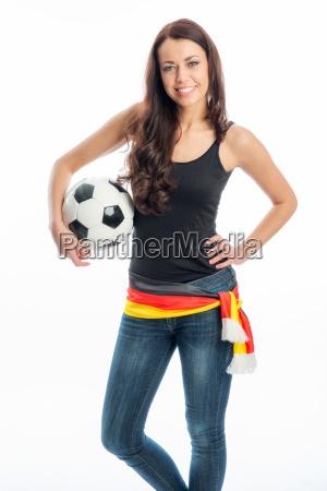 female soccer fan with brunette hair