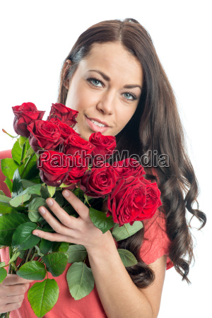 young woman with bouquets of roses