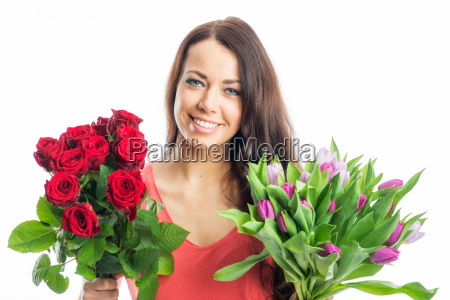 woman with bouquets
