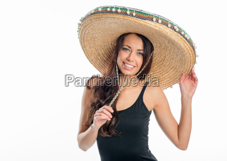 young woman with sombrero
