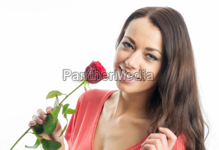 beautiful woman face with rose
