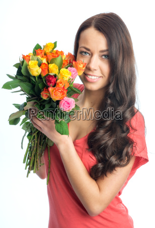 young woman with a bouquet of