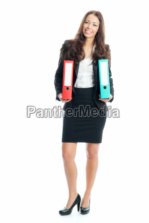 businesswoman with files