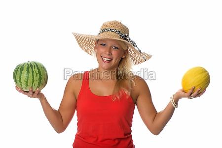 frau, mit, melonen - 11822409