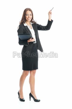 geschäftsfrau, hält, eine, präsentation - 11822907