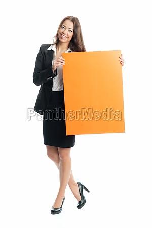 junge, geschäftsfrau, hält, ein, werbeschild - 11822935
