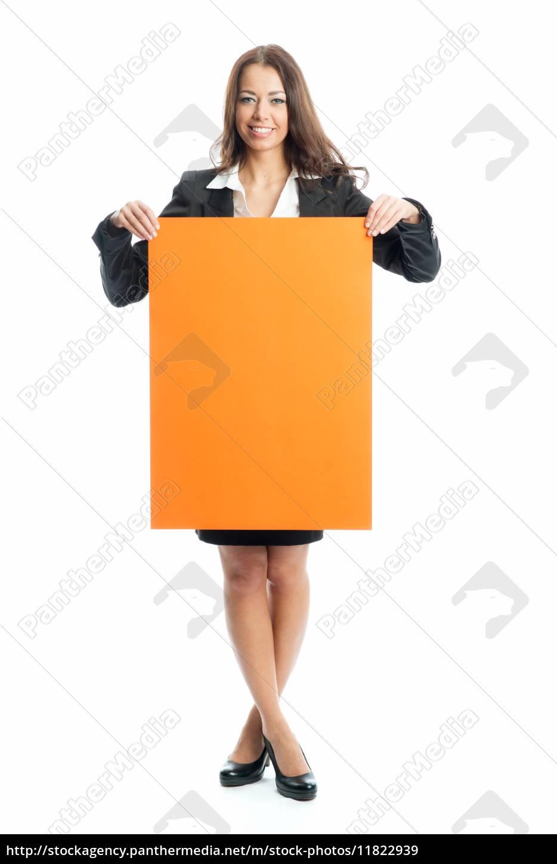 junge, geschäftsfrau, hält, ein, werbeschild - 11822939