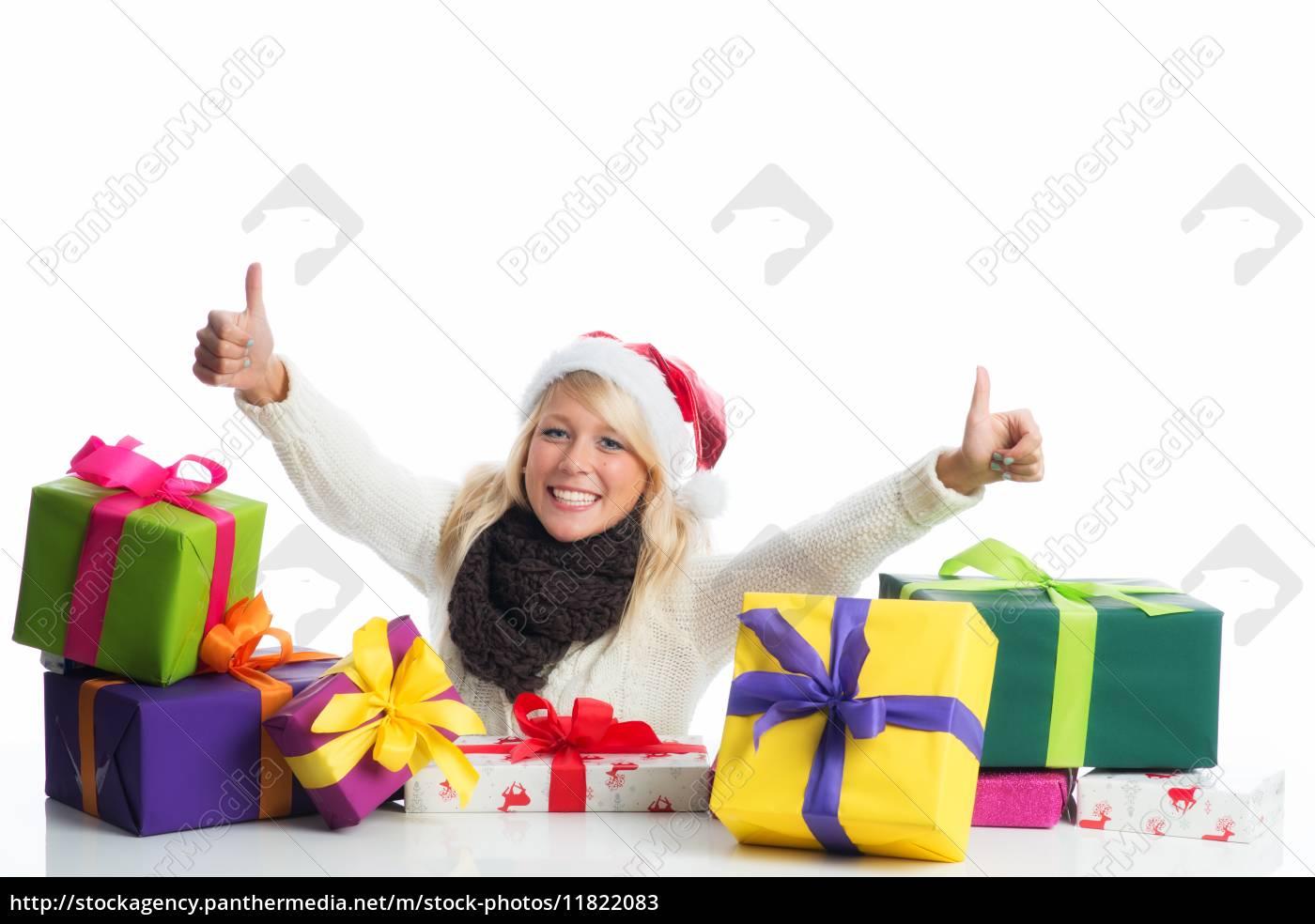 weihnachtsfrau, mit, geschenkehaufen - 11822083