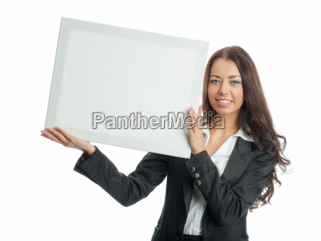 businesswoman holding billboard