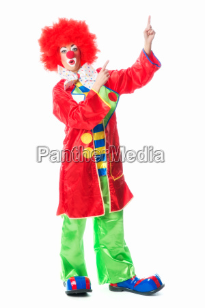 clown points his finger