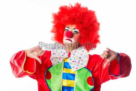 clown shows thumbs down