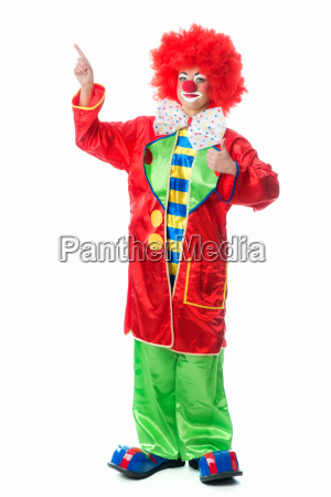clown pointing upwards