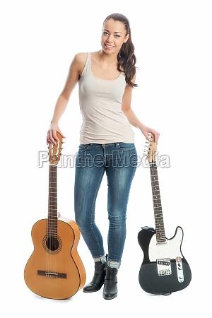 maedchen mit e gitarre und akustikgitarre