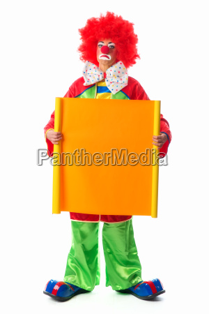 clown holding werbeschild